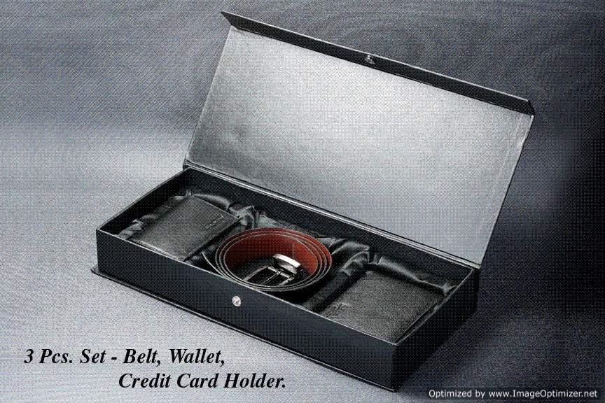 Arrow Leather Wallet, Card Holder & Belt Combo