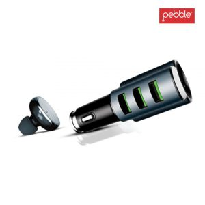 Pebble PCC3M 3 USB Car Charger with in-Built Mono Bluetooth Headset White