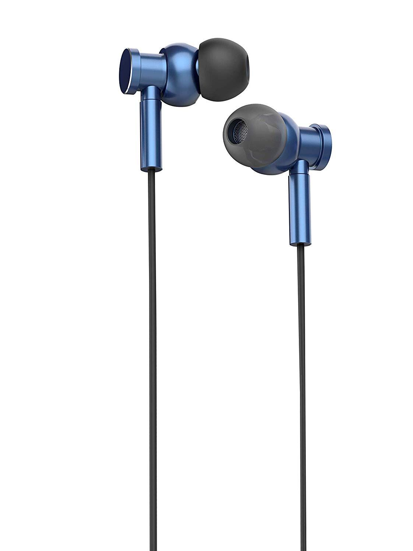 Pebble Vibe True HD Metal Earphone with mic Blue