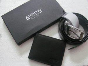 Arrow Leather Wallet & Belt Combo