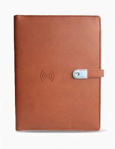 WDPBU5000 - Wireless Powerbank Diary 5000 mah with 16 GB USB