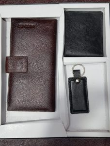 Leather Wallet, Passport Folder & Keychain Gift Set Combo