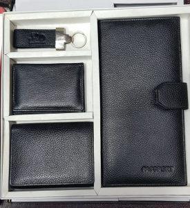 Leather Wallet, Card Holder, Passport Folder & Keychain Gift Set Combo