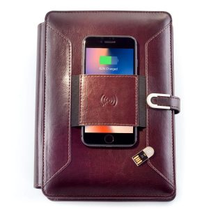 SUPERBOOK - Notebook Organizer With 8000mAh Powerbank And 16GB Flash Drive - Coffee Brown