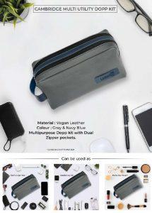 Cambridge Multi Utility DOPP Kit Pouch - Grey & Navy Blue