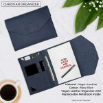 Christian Vegan Leather Organizer - Navy Blue
