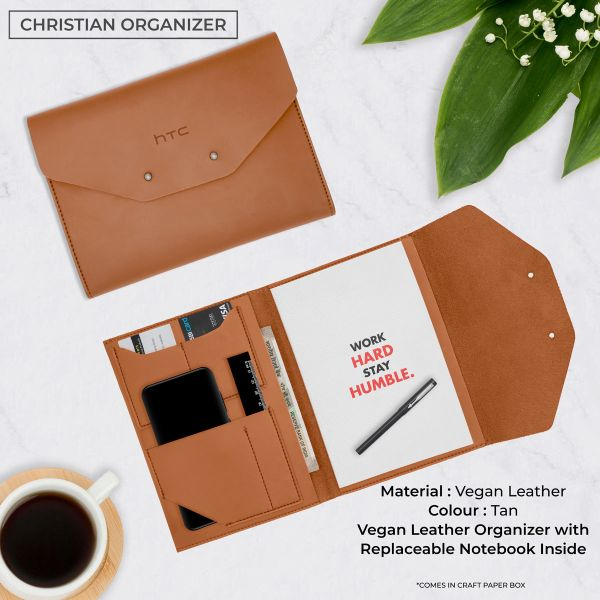Christian Vegan Leather Organizer - Tan Brown
