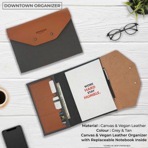 Downtown Vegan Leather Organizer - Grey & Tan Brown