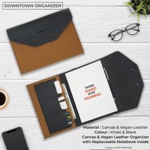Downtown Vegan Leather Organizer - Khaki & Black