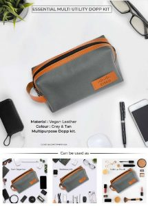Essential Multi Utility DOPP Kit Pouch - Grey & Tan Brown