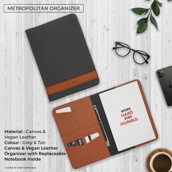 Metropolitan Vegan Leather Organizer -Grey & Tan Brown