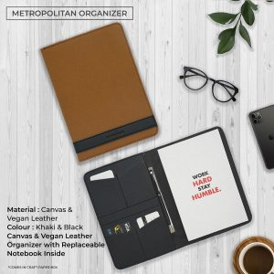 Metropolitan Vegan Leather Organizer - Khaki & Black