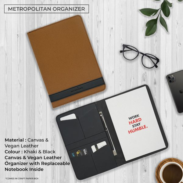 Metropolitan Vegan Leather Organizer - Khaki & Black