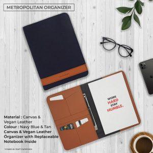 Metropolitan Vegan Leather Organizer - Navy Blue & Tan Brown