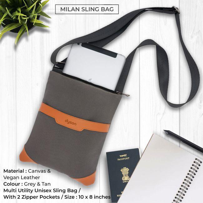 Milan Sling Bag - Grey & Tan Brown