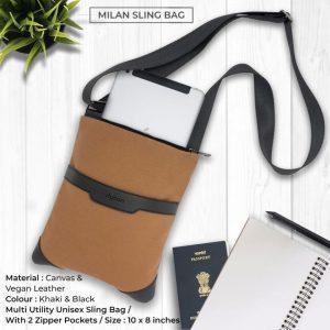 Milan Sling Bag - Khaki & Black