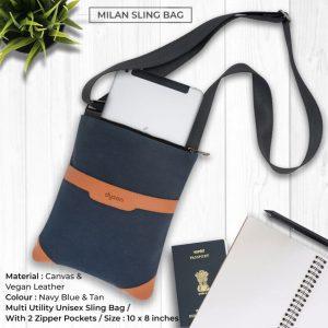 Milan Sling Bag - Navy Blue & Tan Brown