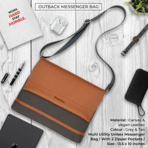 Outback Messenger Bag - Grey & Tan Brown