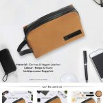 Oxford Multi Utility DOPP Kit Pouch - Beige & Black