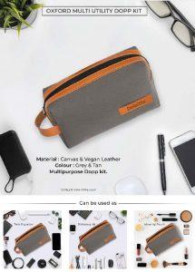 Oxford Multi Utility DOPP Kit Pouch - Grey & Tan