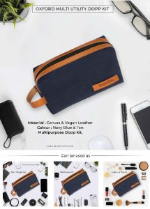 Oxford Multi Utility DOPP Kit Pouch - Navy Blue & Tan