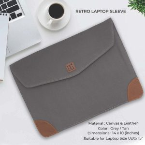 Retro Laptop Sleeve - Grey & Tan