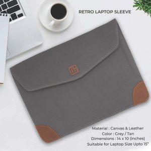 Retro Laptop Sleeve - Grey & Tan