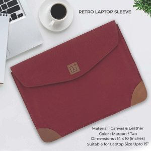 Retro Laptop Sleeve - Maroon & Tan