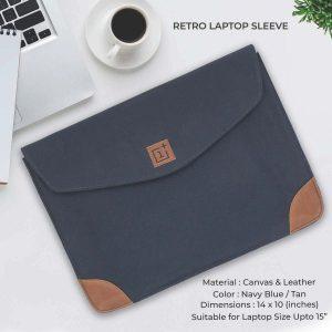 Retro Laptop Sleeve - Navy Blue & Tan