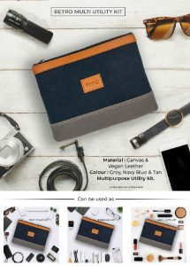 Retro Multi Utility Amenity Kit - Grey, Navy Blue & Tan