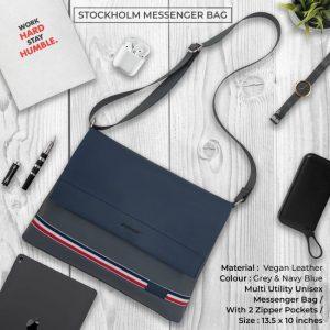Stockholm Messenger Bag - Grey & Navy Blue