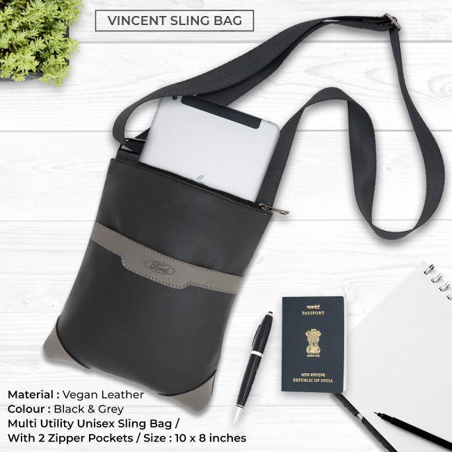 Vincent Sling Bag - Black & Grey