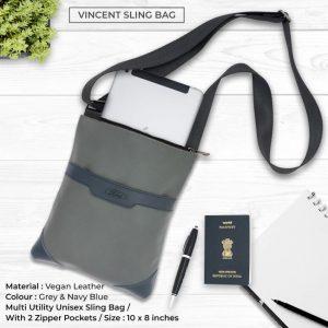 Vincent Sling Bag - Grey & Navy Blue