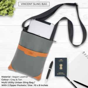 Vincent Sling Bag - Grey & Tan Brown