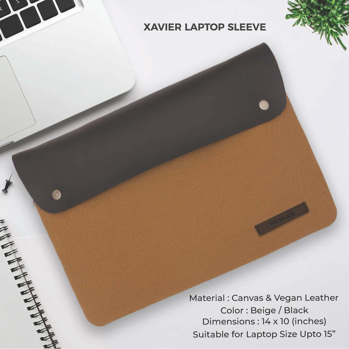 Xavier Laptop Sleeve -Beige & Black