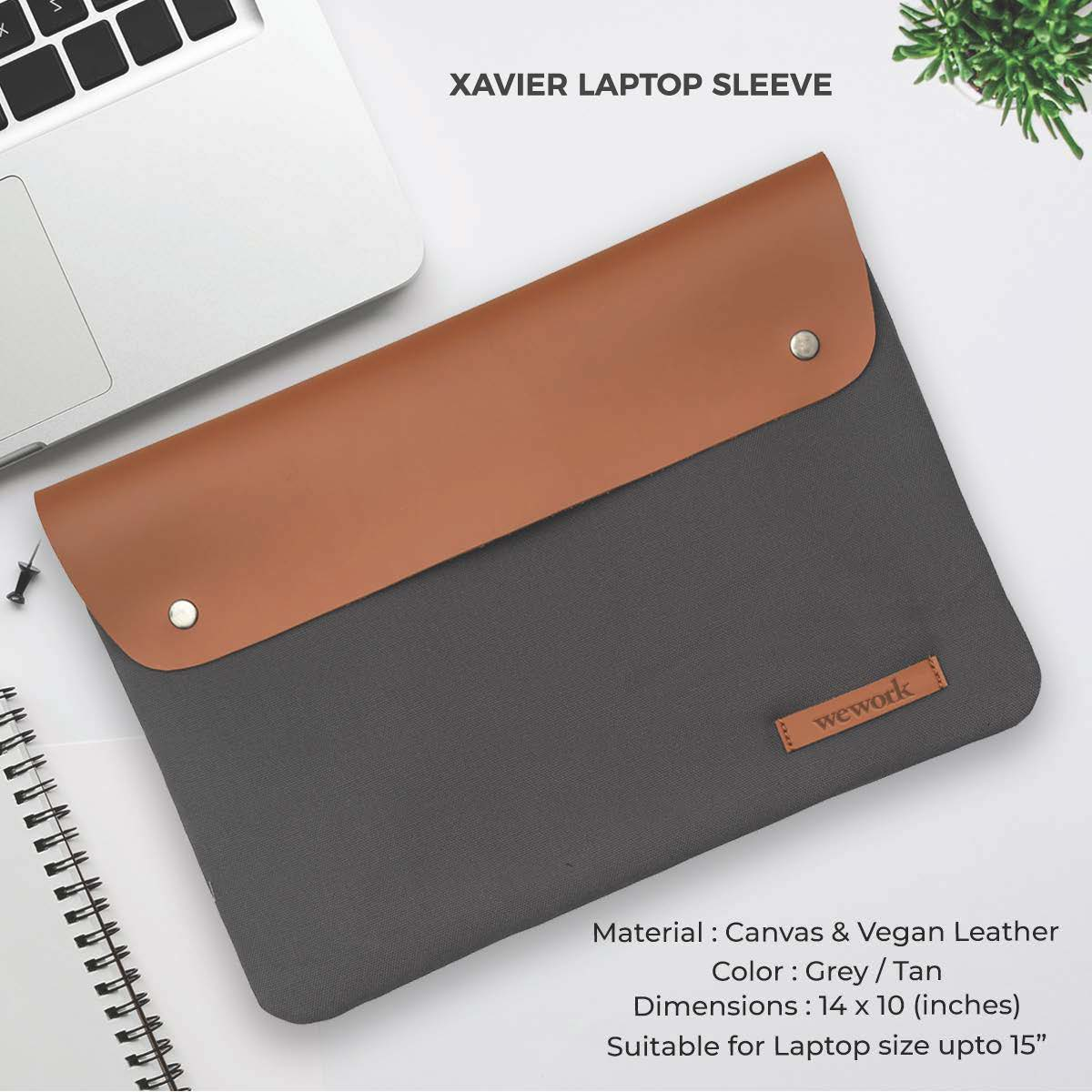 Xavier Laptop Sleeve - Grey & Tan