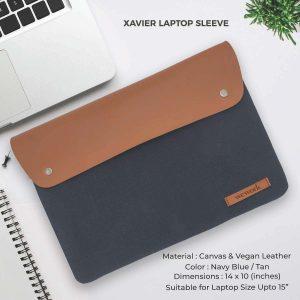 Xavier Laptop Sleeve - Navy Blue & Tan