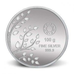 MMTC-PAMP Banyan tree, 100 gram Silver (999.9) Coin