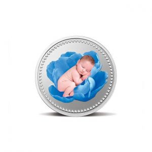 MMTC-PAMP Gift for Newborn Baby 24k (999.9) 10 gram Silver Coin (Blue)