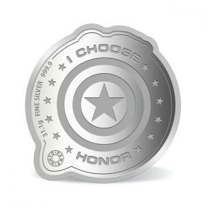 MMTC-PAMP Marvel Captain America Colored 31.1 gm Silver (999.9) Coin Back