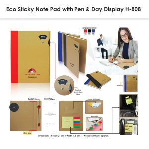 Eco Sticky Note Pad with Pen 808