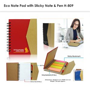Eco Sticky Memo Pad with Pen 809