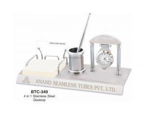 Steel Desktop Penstand, Card & Memo Pad Holder with Clock - BTC-349