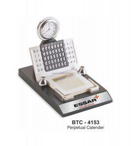 Desktop Perpetual Metal Calendar With Clock & Notepad - BTC-4153