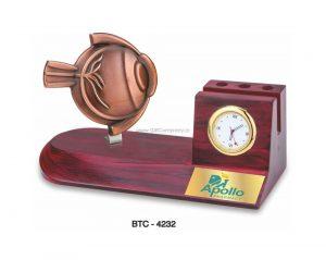 Desktop Card & Pen Holder with Clock - BTC-4232