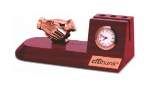Handshake Penstand & Card Holder with Clock - BTC-4260
