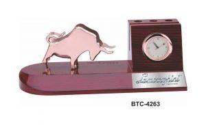 Stock Market Bull Desktop Gift Pen Stand with Clock - BTC-4263